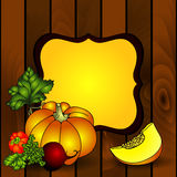 Harvest on wooden background. Royalty Free Stock Image