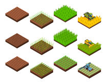 Harvest Work Elements Set. Farm harvesting set with isolated isometric square field section images at various stages of harvesting operations vector illustration Royalty Free Stock Photography