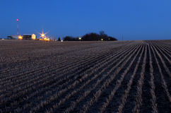 Harvested Field of Grain at Dusk Royalty Free Stock Photos