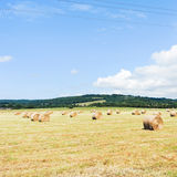 Harvested field with haystack rolls in Normandy. France stock images