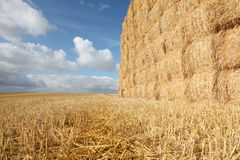 Harvested Field with Haystack & Stubble. Harvested field with haystack and stubble, France royalty free stock images