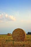 Harvested field with straw bales. Sunset and harvested field with straw bales Stock Photography