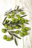 Harvested fresh olives with young olive twigs on wooden backgrou. Nd, Overhead view with space for text Royalty Free Stock Images