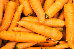 Harvested orange carrots on display Stock Photos