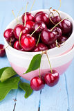 Harvested red cherries. Fresh picked or harvested red cherries in bowls Stock Photography