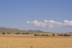 Harvested wheat and windmills Royalty Free Stock Photos