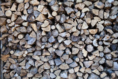 Harvested wood near chalet, Canada. Harvested wood near chalet. In the fall forest Royalty Free Stock Photography