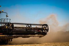 Harvester combine during autumn soybean harvest in Illinois stock image
