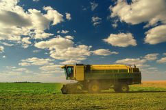 Harvester combine on a field of peas Stock Images