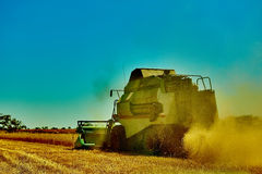 Harvester combine harvesting wheat on summer day Stock Photography