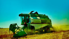 Harvester combine harvesting wheat on summer day Royalty Free Stock Photography