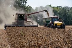A harvester conveying a load of soybeans into a hopper Royalty Free Stock Photos