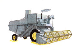 Harvester drawing Royalty Free Stock Photography
