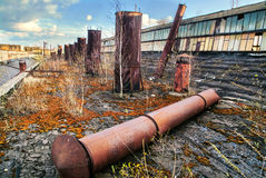 The harvester factory abandoned. Abandoned harvester factory roof Ukraine ternopil stock photo