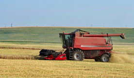 Autumn landscape. Harvester on the field stock photo
