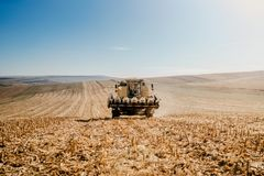 Harvester in the field. General corn and wheat landscape. Industrial harvester in the field. General corn and wheat landscape royalty free stock photo