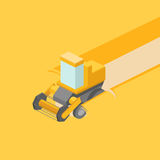 Harvester in the field isometric vector. Harvester in the field colorful minimalistic isometric style vector illustration Stock Images