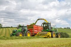 Harvester forager cutting field, loading Silage into a Tractor Trailer. John deere forager harvester cutting grass hay field, loading silage into a tractors Royalty Free Stock Image