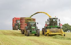 Harvester forager cutting field, loading Silage into two Tractor Trailer. John deere forager harvester cutting grass hay field, loading silage into two tractor Stock Photos