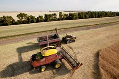 Harvester with Grain Cart Stock Photo