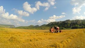 Harvester harvesting, driving through the field stock video footage