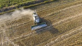 Harvester harvests corn. Collect corn cobs with the help of a combine harvester. Ripe corn on the field. Royalty Free Stock Images