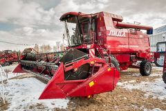 Harvester Lida on agricultural exhibition. Tyumen Royalty Free Stock Photography
