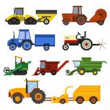 Harvester machine vector set. Set of different types of agricultural vehicles and harvester machine, combines and excavators. Icon set agricultural harvester Royalty Free Stock Image