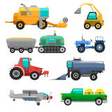 Harvester machine vector vehicle. Set of different types of agricultural vehicles and harvester machine, combines and excavators. Icon set agricultural harvester Royalty Free Stock Photos