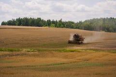 Harvester på ett fält Royaltyfria Bilder
