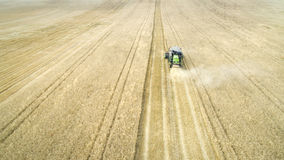 Harvester Reaps a Wheat Field Stock Photo