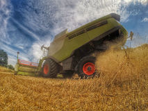 Harvester at work in summer sun Royalty Free Stock Photos