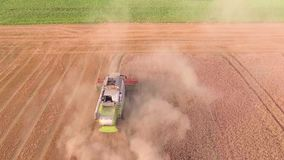 Harvester working in the fields. Top down view stock footage