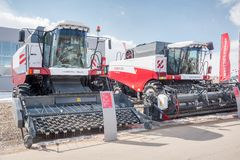 Harvesters on agricultural machinery exhibition Stock Image