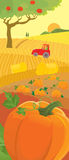 Harvesting. Rural scene of harvesting. Autumn vector illustration