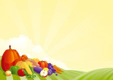 Harvesting. Vector illustration of group of many fruits  and vegetables on autumn landscape Stock Image