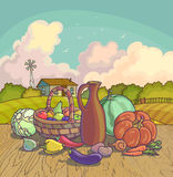 Harvesting autumn symbols fruits and vegetables Stock Images