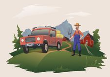 Harvesting or buying hay. Man standing next to a car, loaded with hay. Farmer with pitchfork. Vector illustration. Isolated on light background Stock Photo