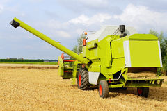 Harvesting combine  on farmland Stock Photo