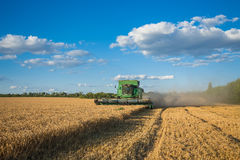 Harvesting combine in the field Royalty Free Stock Images