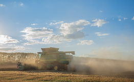 Harvesting combine in the field Royalty Free Stock Photos