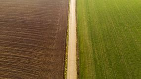 Harvesting corn in autumn Aerial stock image