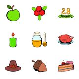 Harvesting day icons set, cartoon style. Harvesting day icons set. Cartoon illustration of 9 harvesting day vector icons for web Royalty Free Stock Image