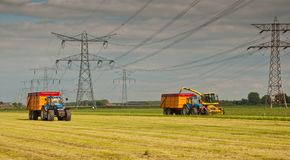 Harvesting dried grass. Between power pilons in the Netherlands Royalty Free Stock Image