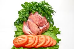 Slices of raw meat Stock Images