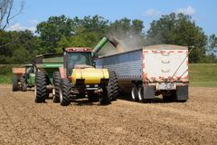 Harvesting equipment unloading soybeans into a hopper truck royalty free stock images