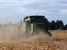 Harvesting in fall. Tractor doing the fall harvest royalty free stock images