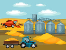 Harvesting grain. Combine harvester, tractor and granary. Agricultural illustration farm rural landscape Royalty Free Stock Image