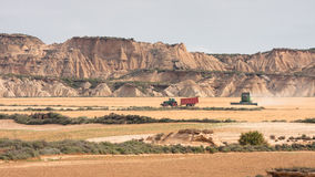 Harvesting machines in Bardenas Reales Stock Photos