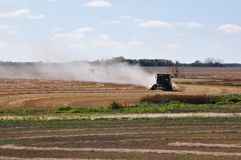 Combines harvesting north of Churchbridge, Saskatchewan, Canada, September 21st, 2011 royalty free stock images